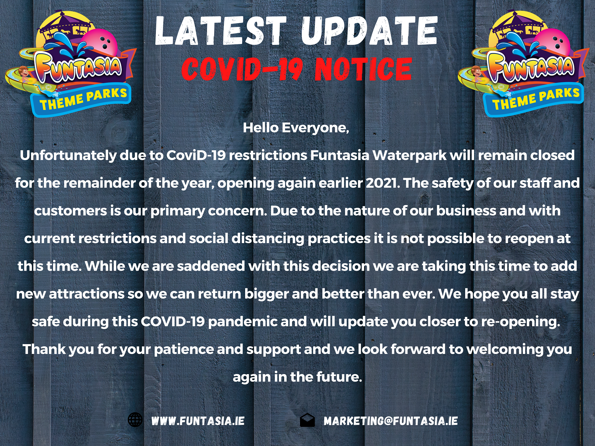 COVID-19 Notice Funtasia Theme Park Closed until 2021